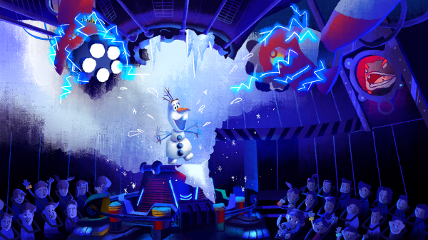 Olaf makes his escape! (c) Walt Disney Imagineering