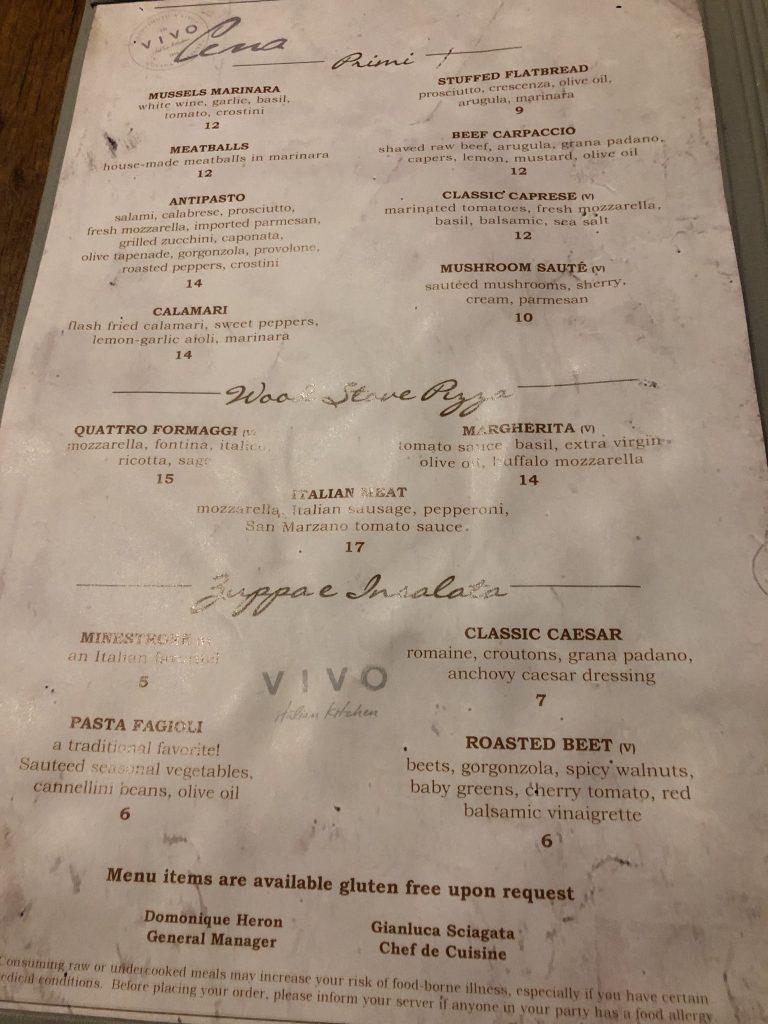 Cardápio Vivo Italian Kitchen